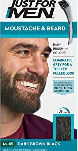 Just for men Moustache & Beard Dark Brown Dye, Eliminates Grey for a Thicker & Fuller Look – M45